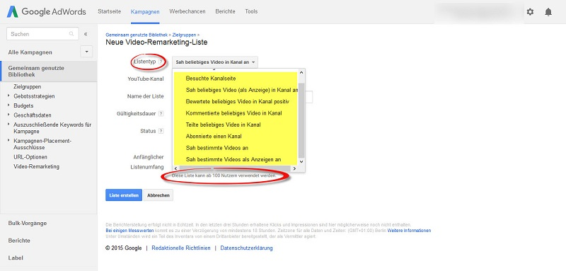 youtube-video-remarketing-liste-auswahlmoeglichkeiten