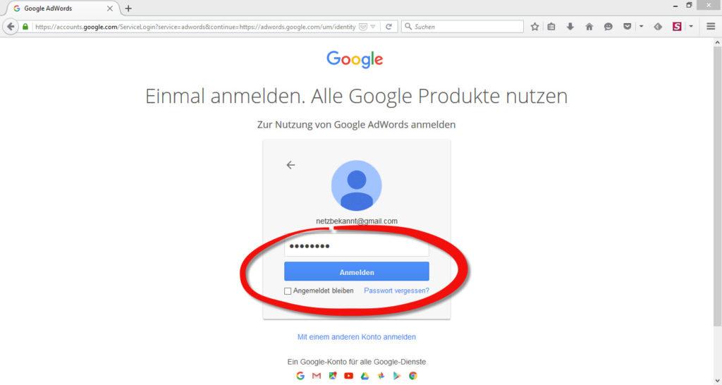 google_adwords_passwort_eingeben