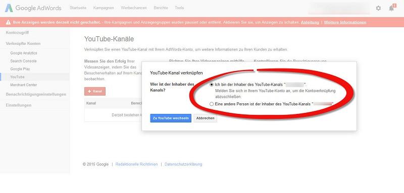 google-adwords-youtube-verbinden-sie-sind-der-inhaber