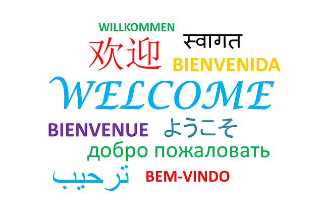 Willkommen Schriftzug in verschiedenen Sprachen
