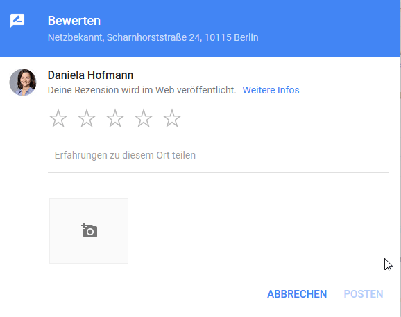 Google My Business Bewertung Rezension