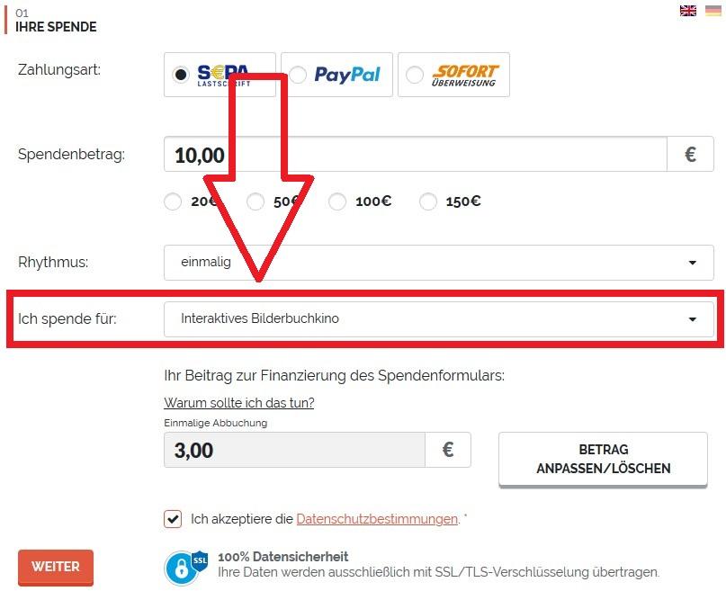 buegerstiftung berlin online formular screenshot spende bilderbuchkino