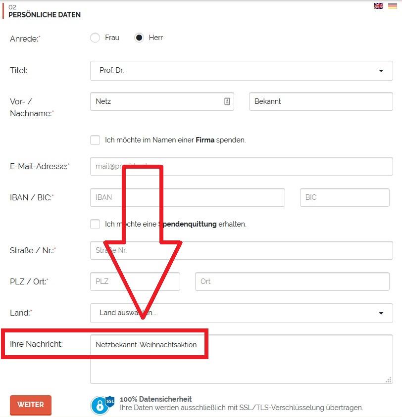 buegerstiftung berlin online formular screenshot spende nachricht